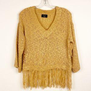 Vici Camel Tan Crochet V-neck Sweater, Small